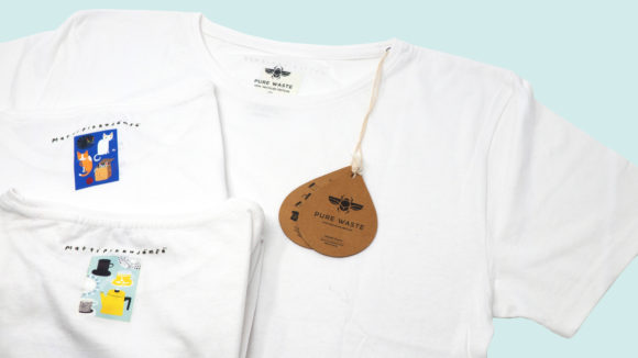 Pure Waste フィンランド。リサイクルコットンを使った、エシカルなTシャツにマッテイ・ピックヤムサさんのイラストをバックプリント。