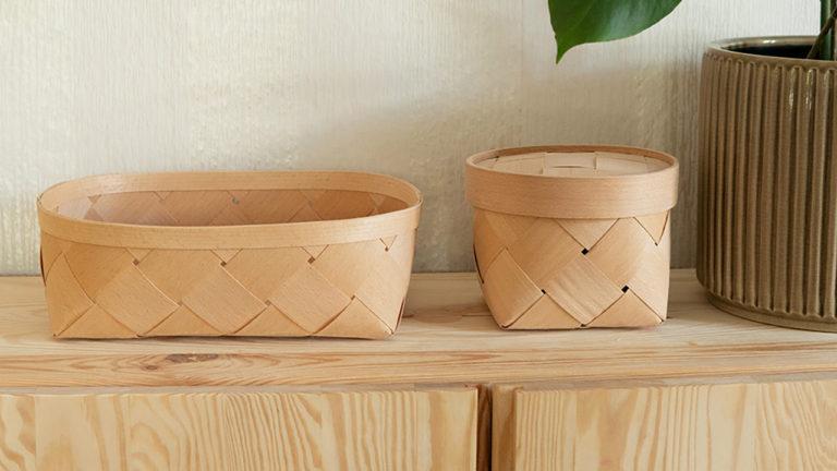 北欧に古くから伝わる木編みのバスケットや曲木のバスケット、スカンジナビスク・ヘムスロイド