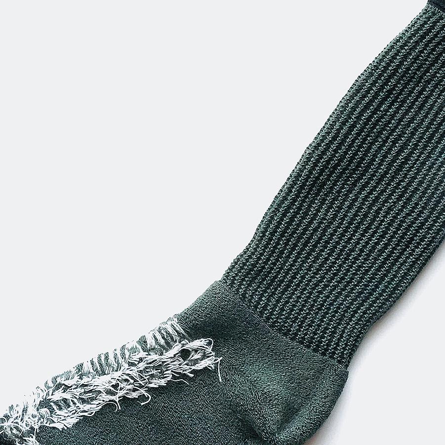 wool loose socks LETTER(dark green) FEEL MY FOOT STEPS
