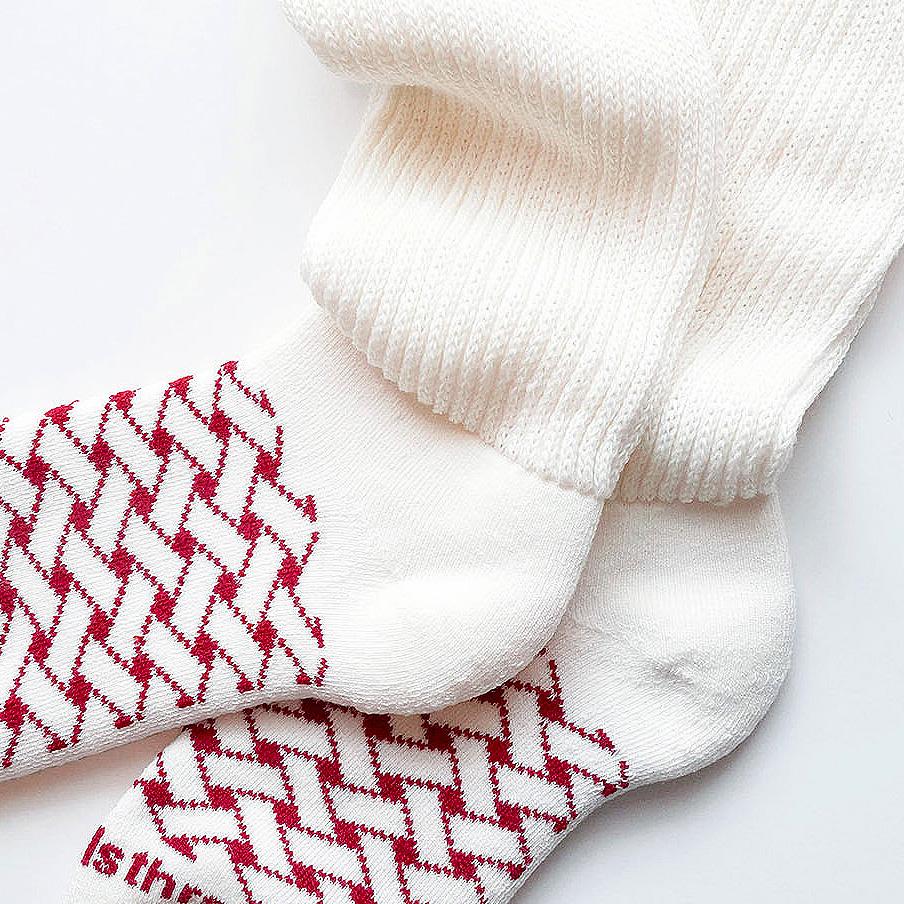 wool loose socks STITCH(off white) FEEL MY FOOT STEPS